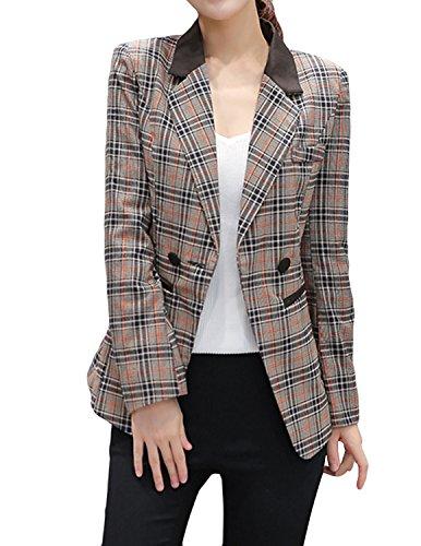 Brown Plaid Blazer Jacket - E.JAN1ST Women's Boyfriend Blazer Vintage Checkered Plaid One Button Blazer Jacket, Khaki, TagsizeXXL=USsize10-12