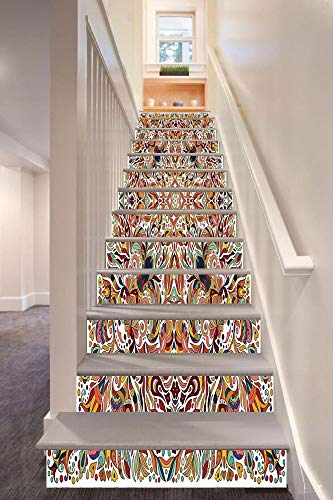 anselc05ls Batik Decor 3D Stair Riser Stickers Removable Wall Murals Stickers,Floral Persian Lines Middle Eastern Bouquet Inspired Kitsch Bohemian Artsy Print,for Home Decor 39.3