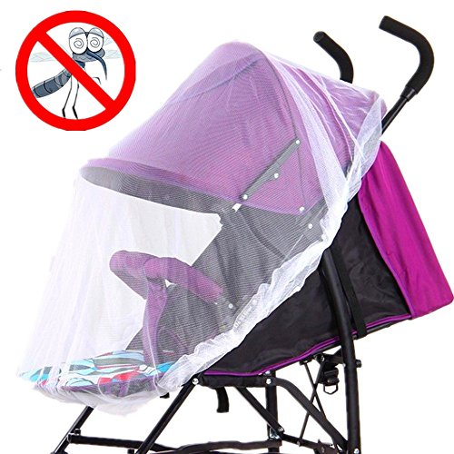 Strollers Mosquito Net by AT,Baby Universal Washable Pram Insect Cover Nets with Elasticated Keep Infants Away from Bee,Wasps,Mosquito,Insect, for Carry Cot,Bassinet ,Pushchair (white) by AT