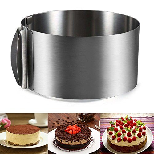 J&P Home Stainless Steel Adjustable Round Cake Ring Mold Mousse Mold, 6 Inch to 12 - Mousse Rings Round