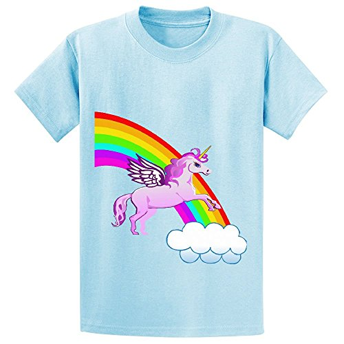 Chas Unicorn And Rainbow Youth Crew Neck Short Sleeve Tees L-blue