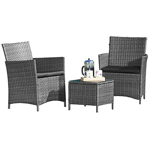 Rattan Effect Dining Set Outdoor Furniture Glass-Topped Table & 2 Chairs for Garden, Patio & Conservatory (Grey)