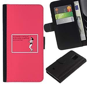 Billetera de Cuero Caso Titular de la tarjeta Carcasa Funda para Samsung Galaxy S5 Mini, SM-G800, NOT S5 REGULAR! / Ex Relationship Training Pink Funny Quote / STRONG