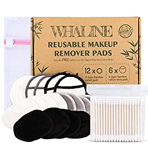 Whaline 18 Pcs Bamboo Makeup Remover Pads, 2-Layer and 3-Layer Reusable Cotton Velvet Facial Cleansing Pads with Laundry Bag and 200 Bamboo Cotton Buds, Washable for All Skin Types