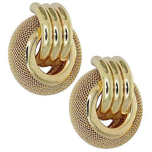 ForFashion Gold Mesh Hoop Earrings Round Plated Stainless Steel Fashion Dangle Earwear Statement Jewellery for Women Girls - Gold Mesh Earrings