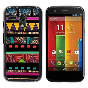 YOYOYO Smartphone Protección Defender Duro Negro Funda Imagen Diseño Carcasa Tapa Case Skin Cover Para Motorola Moto G 1 1ST Gen I X1032 - Indian modelo colorido nativo americano