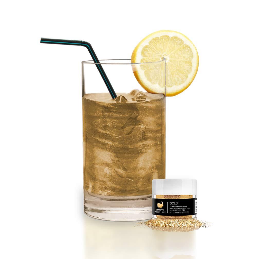 BREW GLITTER Gold Edible Glitter For Drinks, Cocktails, Beer, Drink Garnish & Beverages | 4 Grams | KOSHER Certified | 100% Edible & Food Grade | Kosher Certified | Vegan, Gluten, Nut Free