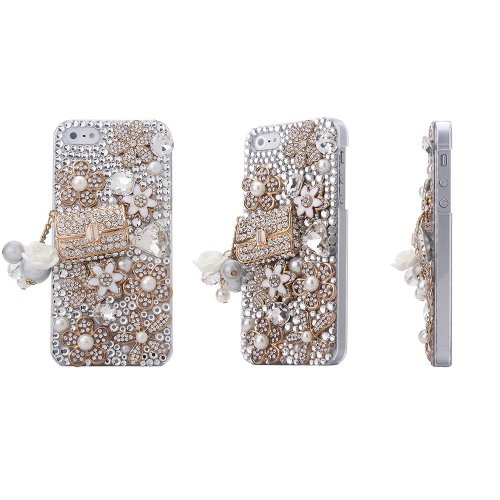 Telefon-Kasten fuer iPhone 5 - SODIAL(R) Bling Luxux Kristall Strass Coco Beutel Entwurf Diamant Case, Abdeckung fuer das neue Apple iPhone 5 (Paket: 1 x Schirm Schutz & Extra Strass)