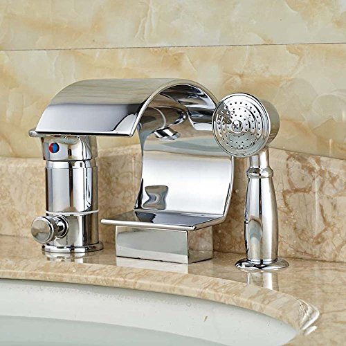 Zovajonia Luxury Wide Waterfall Spout Bathtub Faucet Deck Mount 3pcs Tub Mixer Taps Chrome Finished