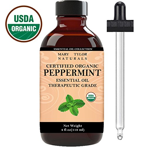 Mary Tylor Naturals Organic Peppermint Essential Oil Large 4 oz, USDA Certified, Premium Therapeutic Grade, 100% Pure, Perfect for Aromatherapy, Relaxation, Improved Mood, Repel Mice, Pests
