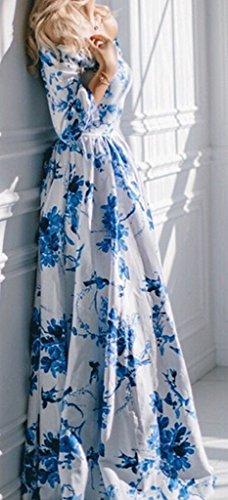 LOVARU Women's Elegant Full Floral Off Shoulder Maxi Long Dress