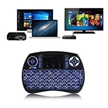 (Upgrade Backlit) CIBN i8+ Mini Wireless Touch Keyboard Handheld Remote, Touchpad Mouse Combo, 3 Color LED Backlit Remote Control for Android TV Box, PS3 XBOX, Raspberry Pi 3, HTPC,Windows 7,8,10.