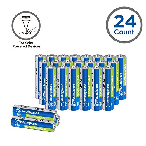 24pc Westinghouse Pre Charged Always Ready AA 1.2 volt 800mAh Ni-Mh Rechargeable Battery for Solar Garden ()