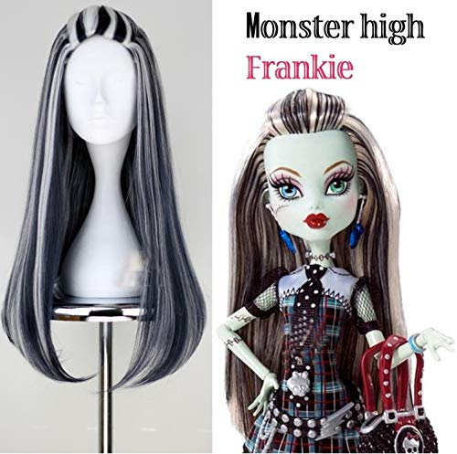 Blue Bird Monster High Frankie Stein Cosplay Wig Synthetic Black and White Multi Color Long Straight Halloween Wigs for Women Girls Party Show ()