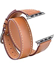 """V-MORO Leather Bands Compatible with 42mm 44mm Apple Watch Band Women Double Tour Bracelet Replacement for iWatch Series 4/3/2/1 5.5""""-7.08""""(Brown,42mm/44mm-S/M)"""