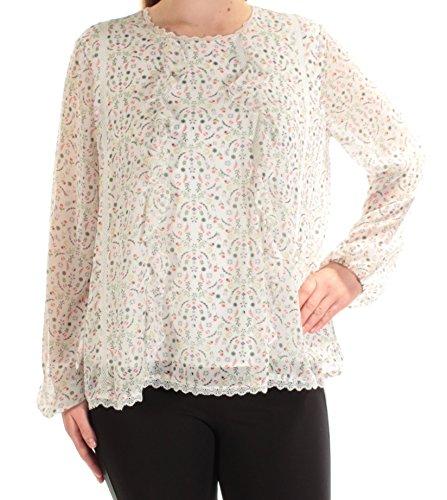 Cynthia Rowley Womens Sheer - Cynthia Rowley Womens Chiffon Floral Print Pullover Top White M