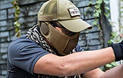 """OneTigris 6"""" Foldable Half Face Airsoft Mesh Mask with Ear Protection, Military Tactical Lower Face Protective Mask"""