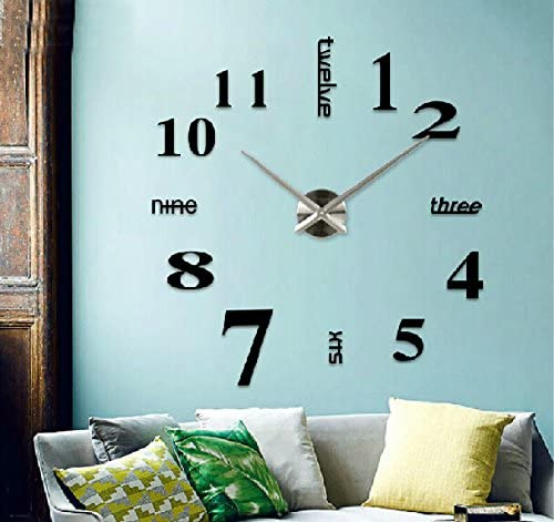 Zuwit Contemporary DIY Metal Modern 3D Frameless Wall Large Clock 40 Awesome Self Design Wall Clock Black