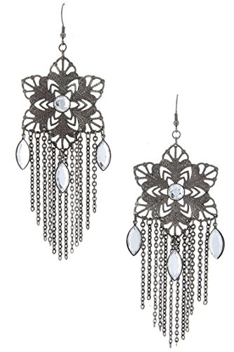 DIVA & DUCHESS STAR OF DAVID MOTIF FILIGREE WITH CHAIN CURTAIN EARRING (Hematite) (Star Fox Costume For Sale)