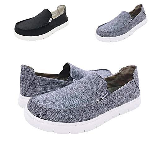 Boat Shoes Men Deck-Canvas-Loafers-Slipon-for Mens Casual Walking Vintage Flat Comfort Shoe Grey