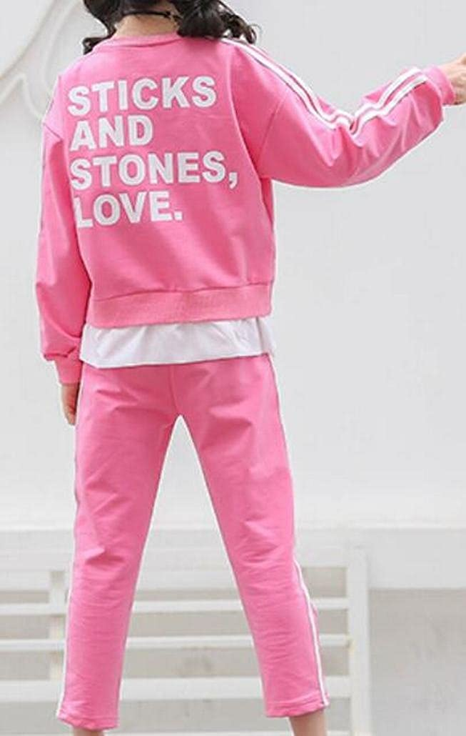 M/&S/&W Little Girls New Long Sleeve Round Neck Pullover Sweatshirt Casual Pant Tracksuit Set