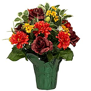 Burgundy Rose with Orange Dahlias Artificial Weighted Potted Bouquet (PT1796) 26