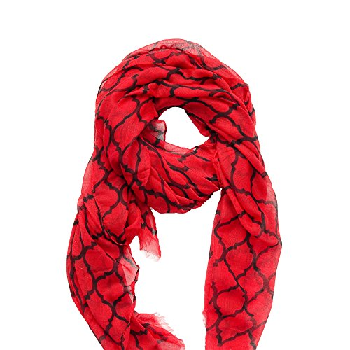 (Tickled Pink Women's Vibrant Royal Lightweight Oblong Scarf, Red & Black One Size)
