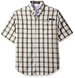 Columbia Men's Super Tamiami Short Sleeve Shirt, Sage Plaid, XX-Large
