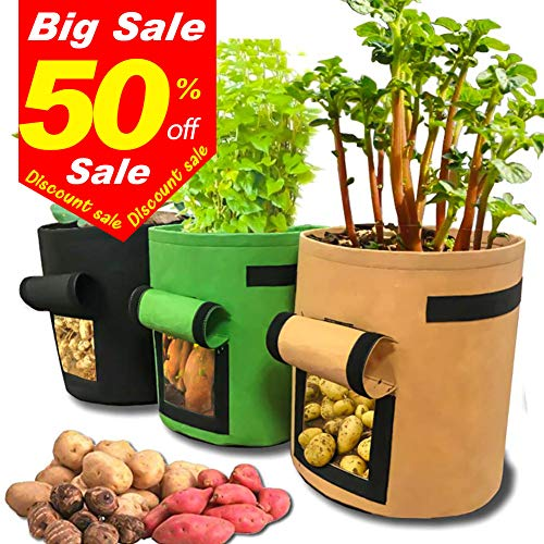 Bili-silly Grow Bags Garden Potato Planter Bags with Access Flap and Handles Soil Pots Container Planter for Potato Carrot, Tomato, Onion Vegetable and so on (Color 3Pack)