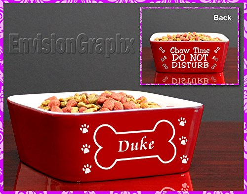 Custom Personalized Engraved Red Ceramic Pet Dog Bowl Bone Design - Great Pet Lover Gift!