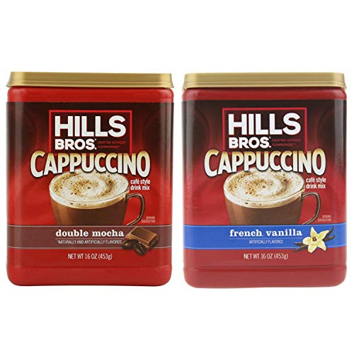 Hills Bros. Instant Cappuccino Mix Bundle | Double Mocha 12oz. & French Vanilla 12 oz. | Instant Flavored Coffee | Café Style Drink Mix