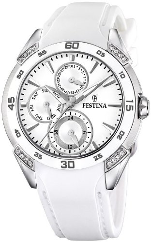 Festina Multifunction Crystal Accents Ceramic Bezel White Dial Women's watch #F16394/1