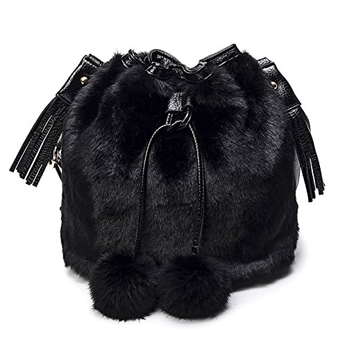 Onfashion Women's Faux Fur Bucket Bag Drawstring Shoulder Bag with Pompon Fur Shoulder Bag