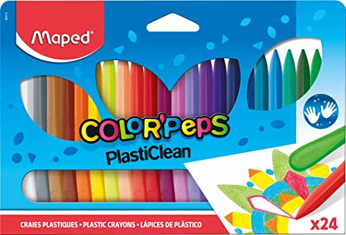 Maped Color'Peps Plasticlean Plastic Crayons, Assorted Colors, Pack of 24 (862013) (Maped Color Peps)