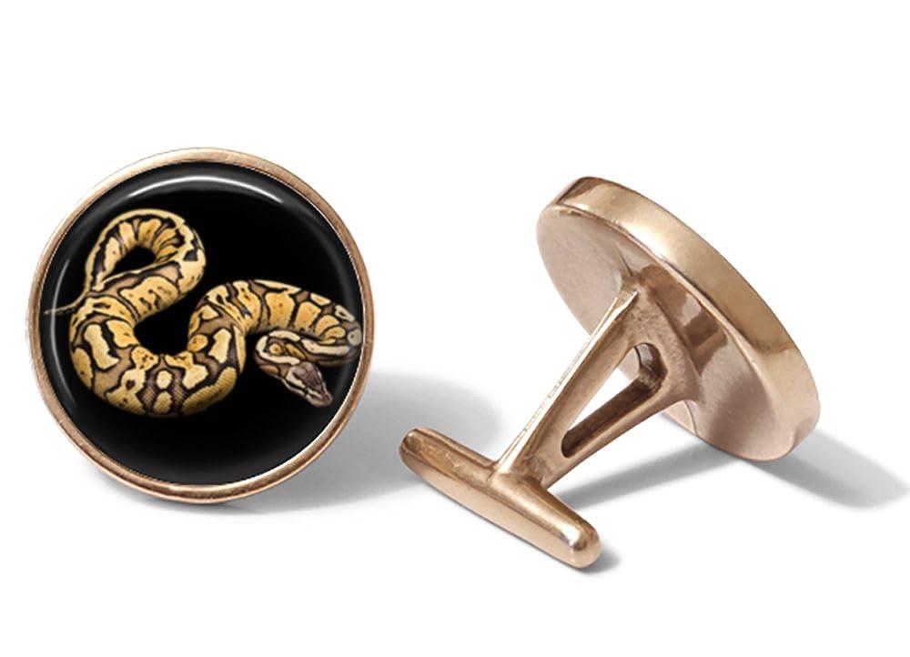 Solid Bronze Python Cufflinks Snake Cuff Links