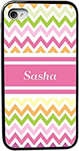 """Rikki KnightTM """"Sasha"""" Pink Chevron Name Design iPhone 4 & 4s Case Cover (Black Rubber with bumper protection) for Apple iPhone 4 & 4s"""