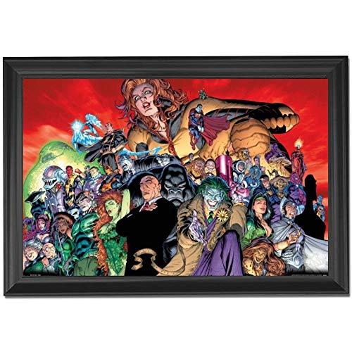 (DC Movie Comics All Villains Wall Art Decor Framed Print | 24x36 Premium (Canvas/Painting Like) Textured Poster | Joker, Poison Ivy, Harley Quinn, Darkseid | Memorabilia Gifts for Guys & Girls Bedroom)