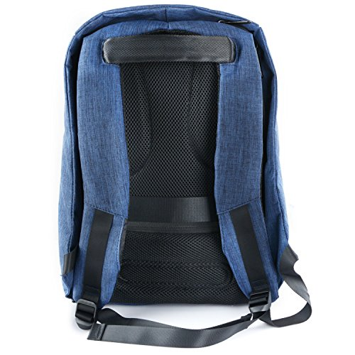 Charging Backpack blue Anti Business USB to blue Canvas Rucksack School Backpack 6inch 15 Laptop Waterproof Travel Port Theft Up with wgXOHSq