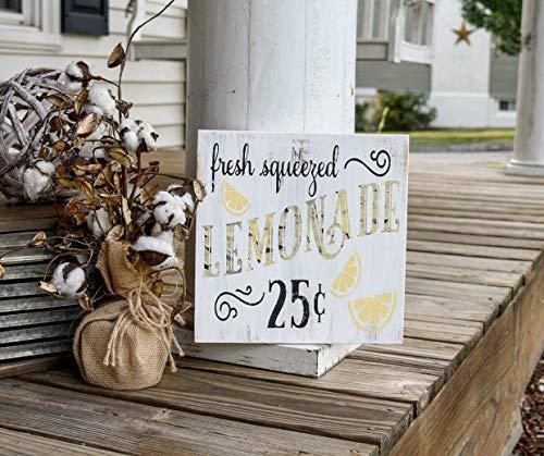 Iliogine Wooden Home Sign Fresh Squeezed Lemonade Lemonade Sign Lemonade Decor Summer Sign Kitchen Sign Kitchen Decor Kitchens Lemon Sign Lemonade Hanging Door Sign