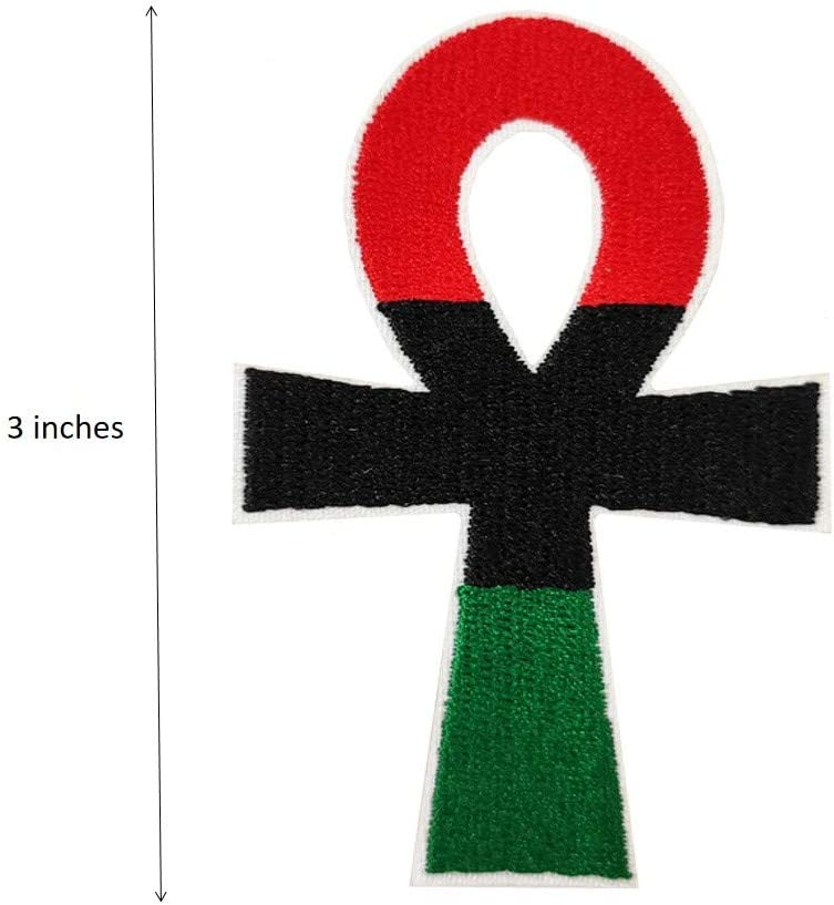 Pan-African Colors Ankh Egyptian Cross Embroidered Iron On Patch