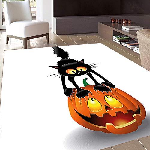 Rug,FloorMatRug,Halloween ations,AreaRug,Black Cat On Pumpkin Head Spooky Cartoon Characters Halloween Humor Themed Art,Home mat,4'x5'Seafoam Grey White,RubberNonSlip,Indoor/FrontDoor/Kitchenan ()