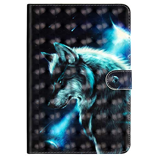 Price comparison product image MoreChioce 3D Fashion Wolf Pattern Soft PU Leather Stand Magnetic Flip Case Folio Closure Foldable TPU Silicone Inner Shell Case Compatible with Huawei Mediapad M5 8.4