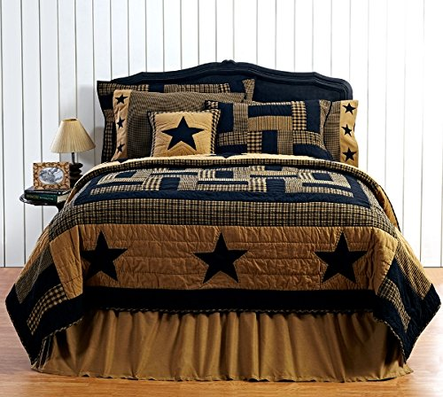 9pc Delaware Black Star FULL/QUEEN Quilt Set, 2 Shams, Pillow Cases, Pillows by VHC