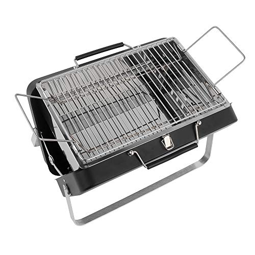 comfyoutdoor Charcoal Grill Folding Stainless Steel Barbecue Grill Portable Easy Clean&Stable 15 x 10 inchs Grilling Area,Black