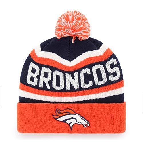NFL Men's Denver Broncos OTS Jasper Cuff Knit Cap with Pom, One Size, Team Color (Best Winter Hats 2019)
