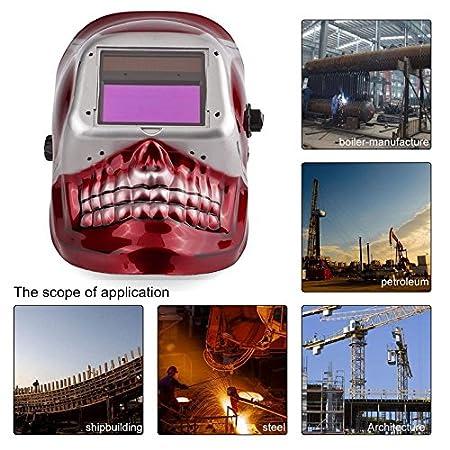 CyberKit® Solar Pro Energy Auto Darkening Casco de Soldadura ARC TIG Mig máscara con diseño de Calavera roja, función de molienda Soldadura Casco: ...