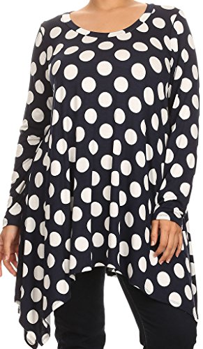 Casual Corner Clothes (BNY Corner Women Plus Size Large Polka Dot Asymmetrical Casual Tunic Top Shirt Navy 3XL (D396 Big POL))