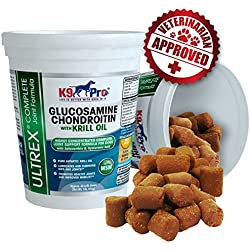 Glucosamine for Dogs The #1 Dog Joint Supplement - Tasty Moist Chews with Chondroitin MSM Krill Omega 3 Fish Oil & Astaxanthin Joint Supplements for Dogs Best Hip and Joints Chewable Treat