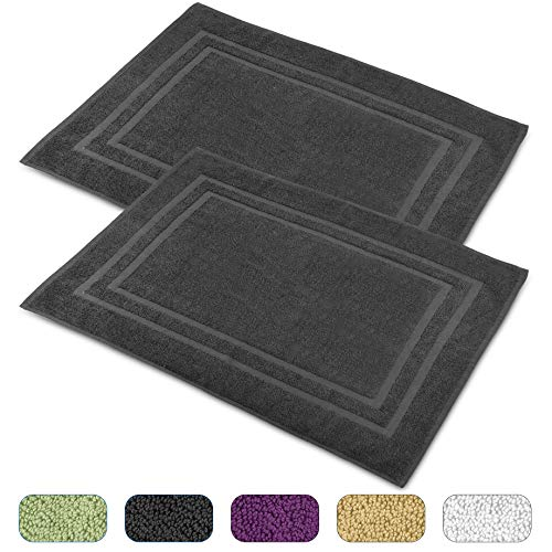 Talvania Cotton Banded Bath Mats, 100% Ring Spun Genuine Cotton – Highly Absorbent, Maximum Softness, Easy Care & Machine Washable Shower Bathroom Rugs Floor Towel 2 Pack (23 x 32Inch) (Charcoal)