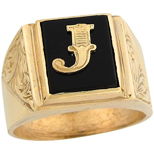 10k Real Gold 12x10mm Rectangle Onyx Letter J Fancy Mens Initial Ring -
